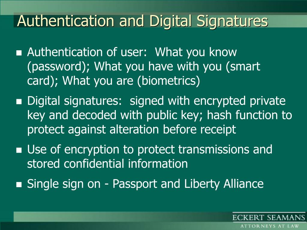 Authentication and Digital Signatures
