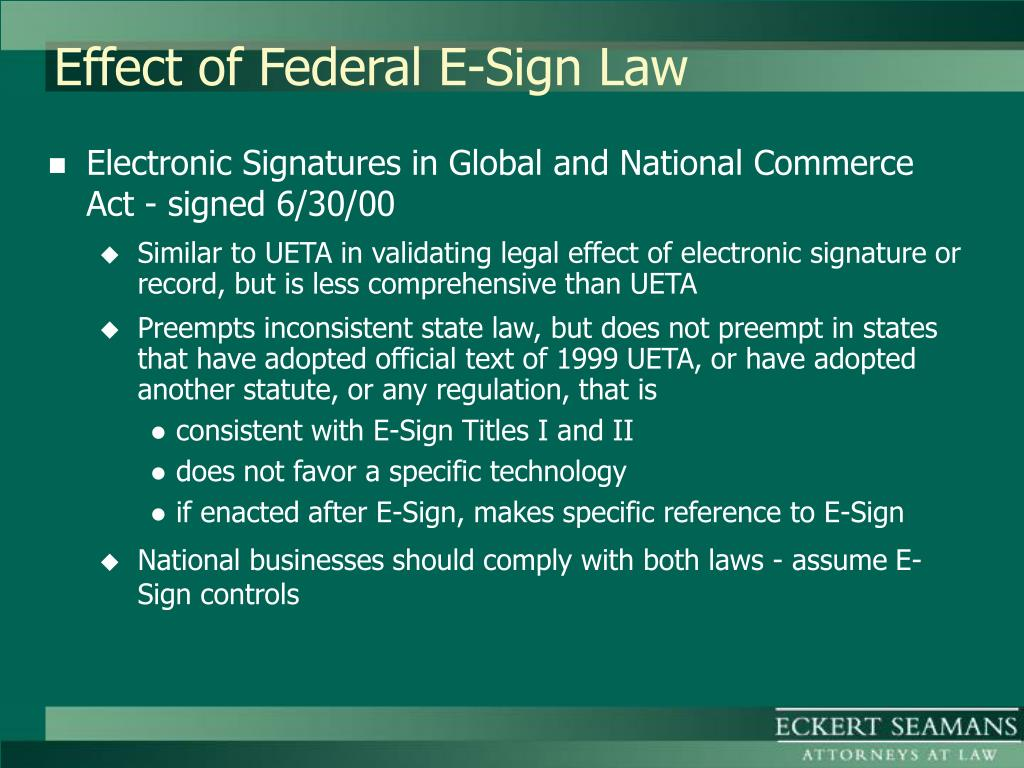 Effect of Federal E-Sign Law