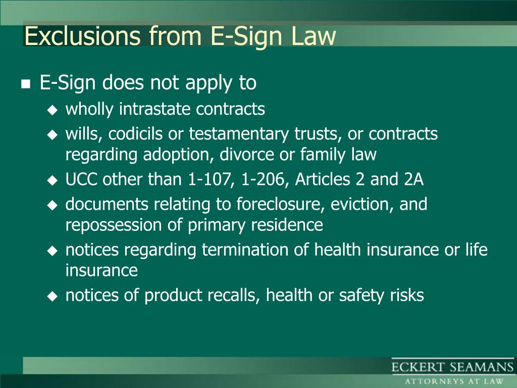 Exclusions from E-Sign Law