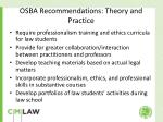 osba recommendations theory and practice