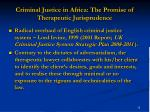 criminal justice in africa the promise of therapeutic jurisprudence
