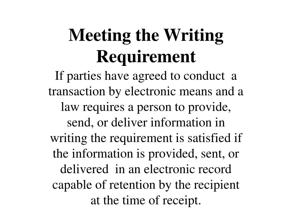 Meeting the Writing Requirement