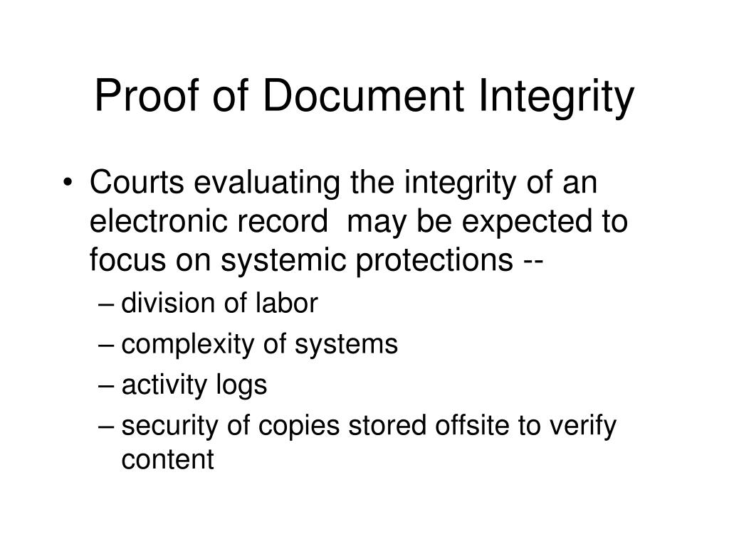 Proof of Document Integrity