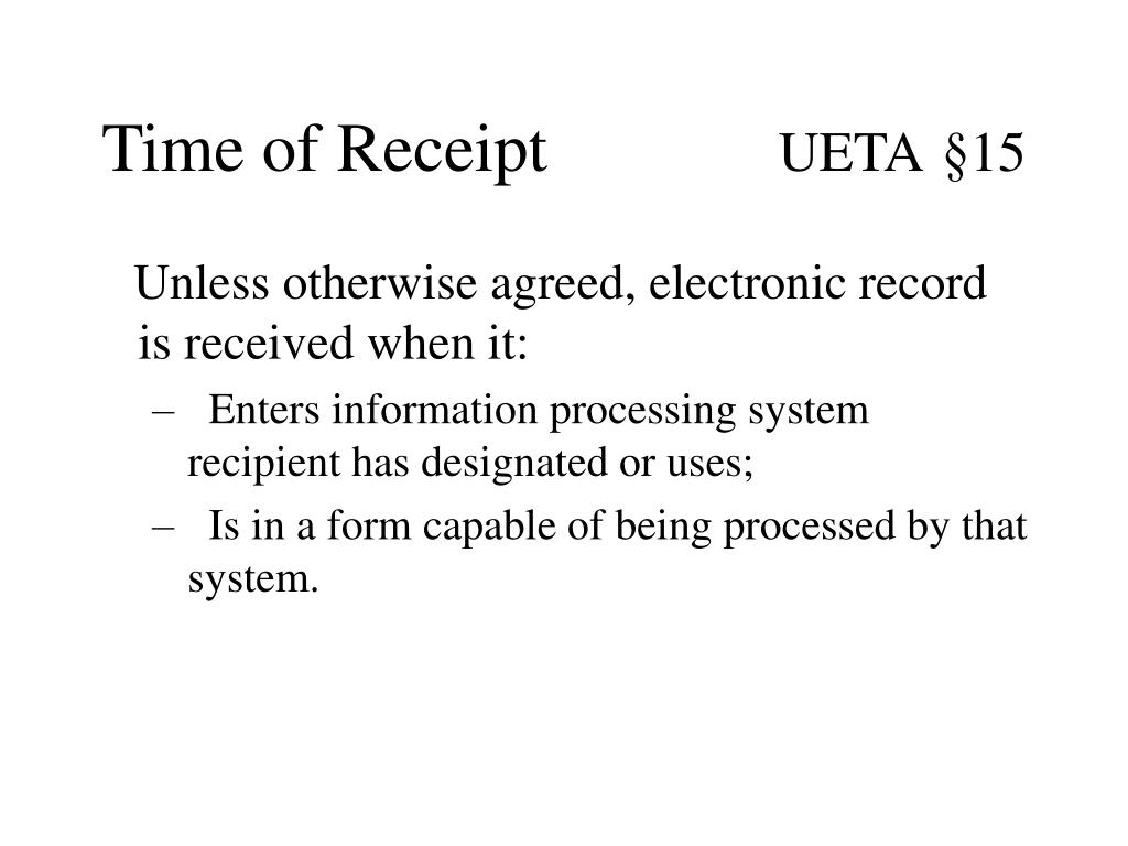 Time of Receipt