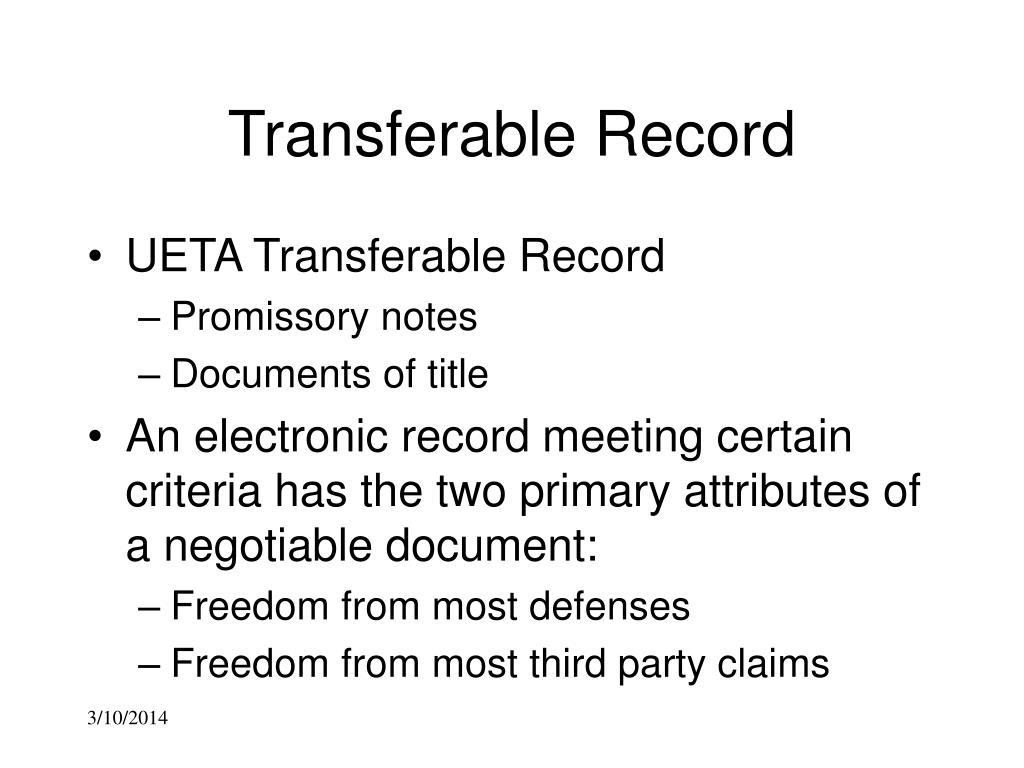 Transferable Record