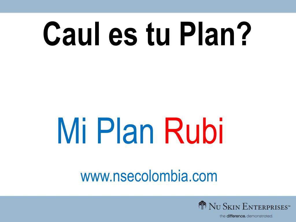 Caul es tu Plan?