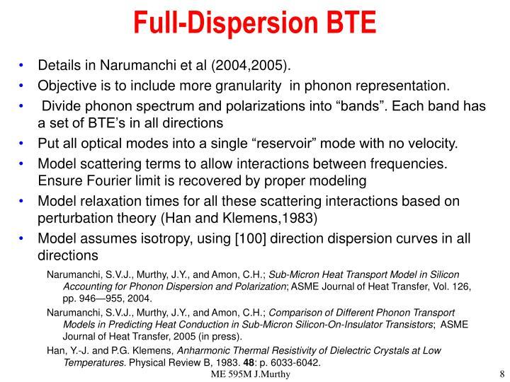 Full-Dispersion BTE