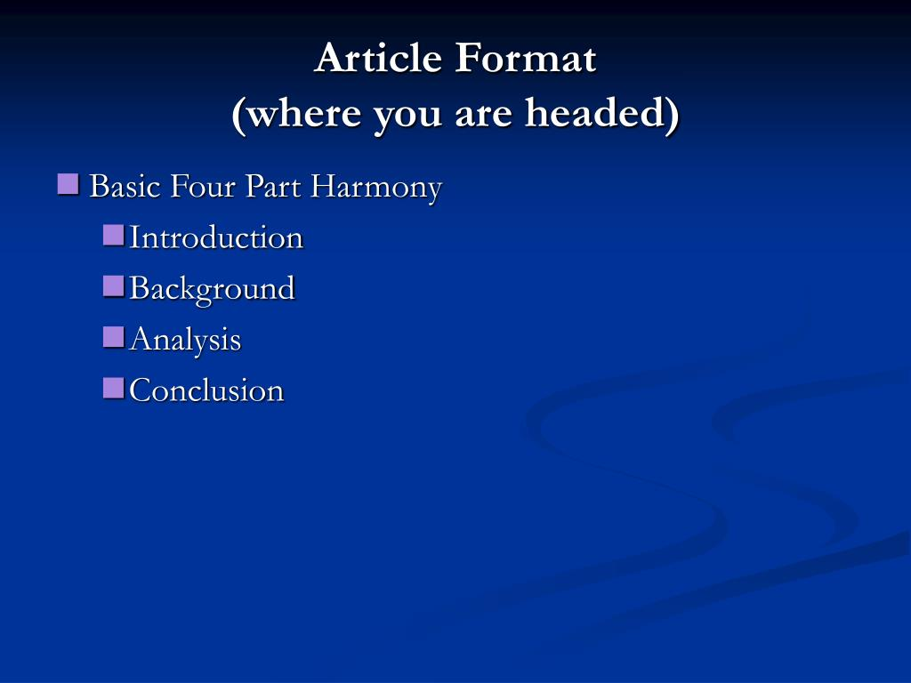 Article Format