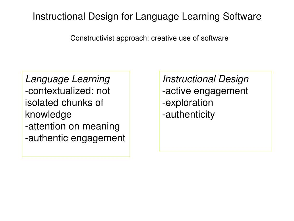 Ppt Instructional Design For Language Learning Software Powerpoint Presentation Id 656553