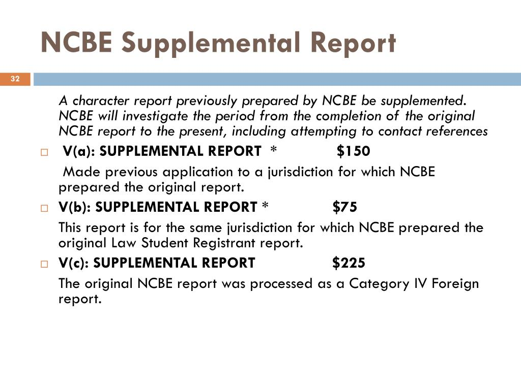 NCBE Supplemental Report