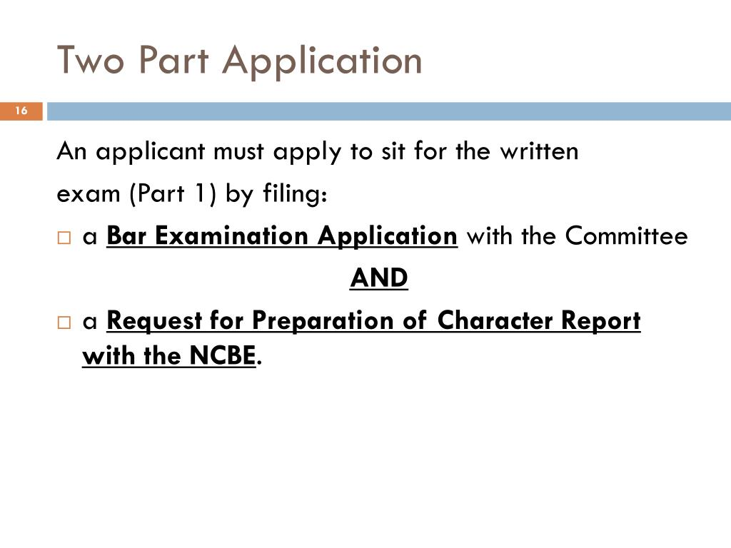Two Part Application