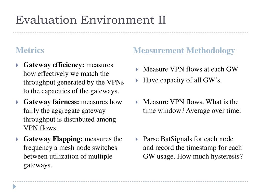 Evaluation Environment II