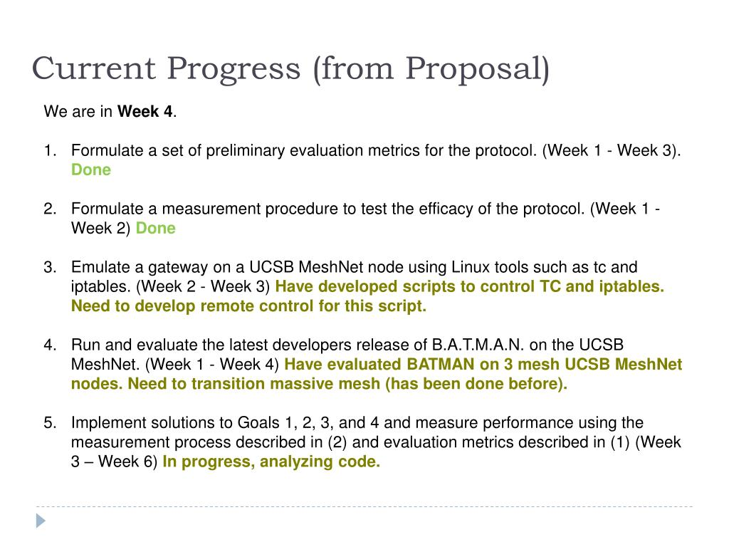 Current Progress (from Proposal)