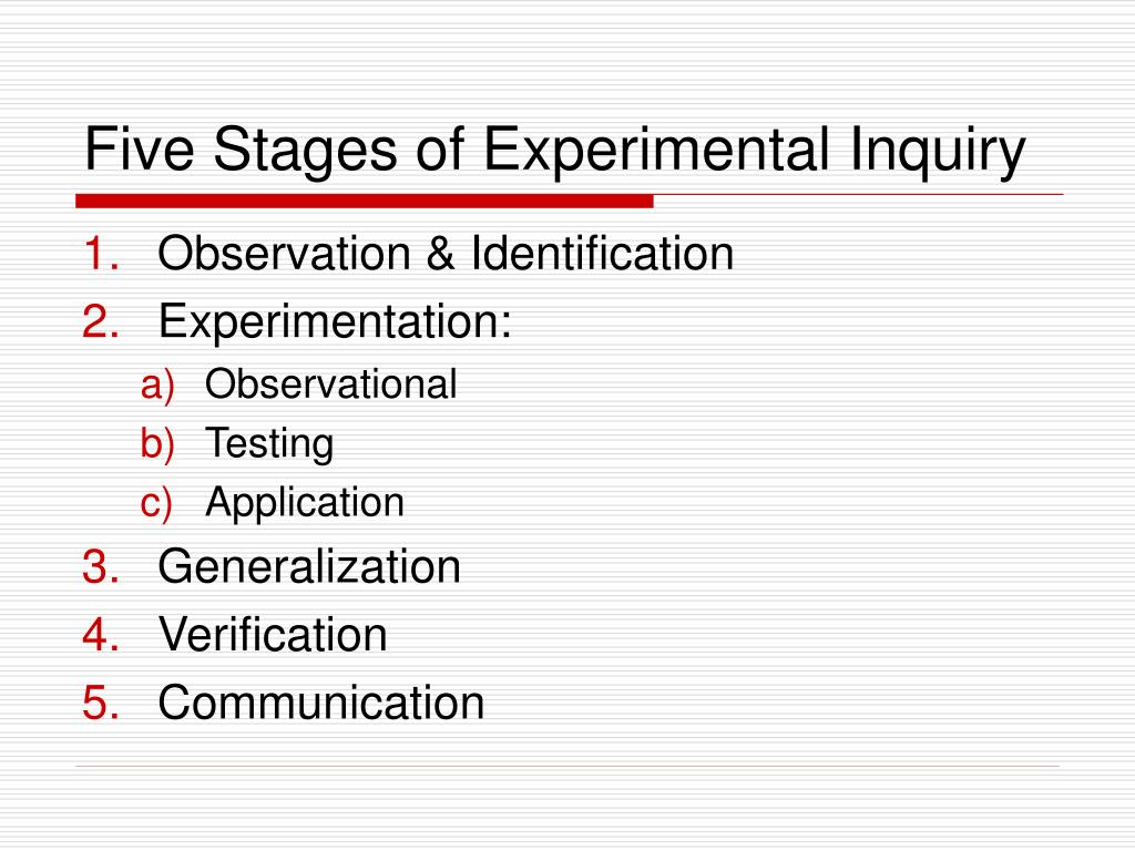 Five Stages of Experimental Inquiry