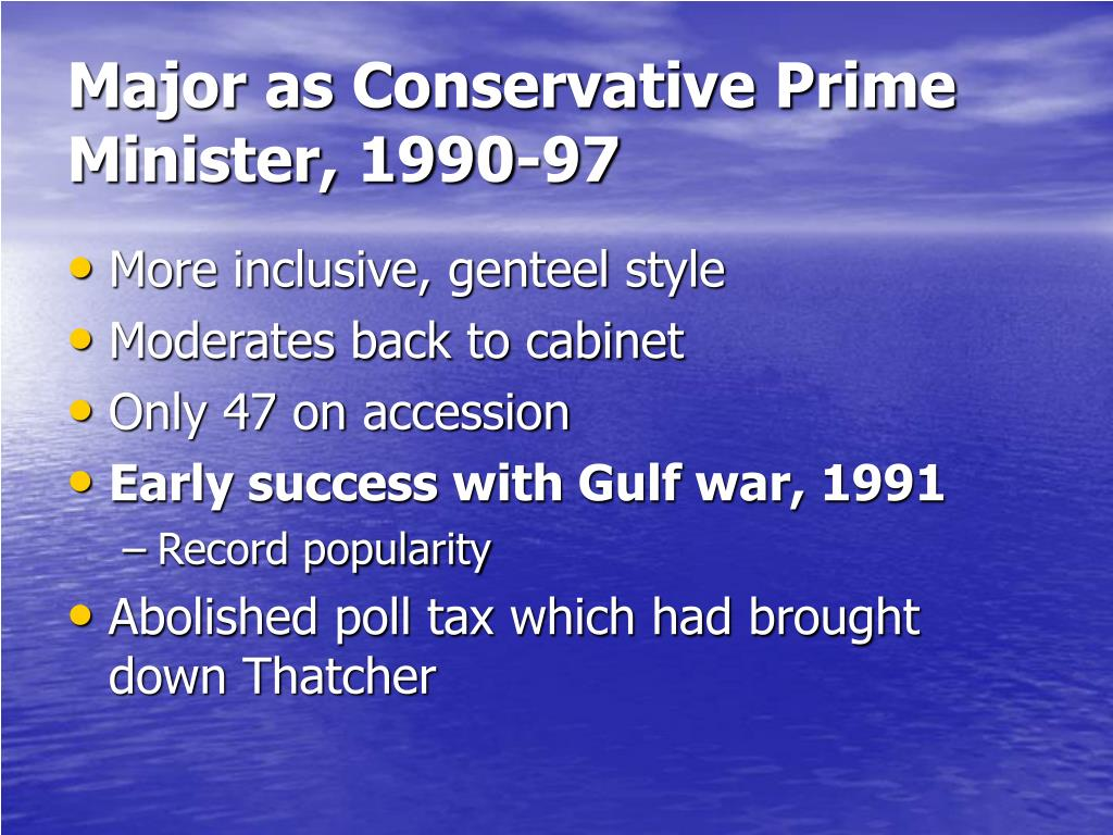Major as Conservative Prime Minister, 1990-97