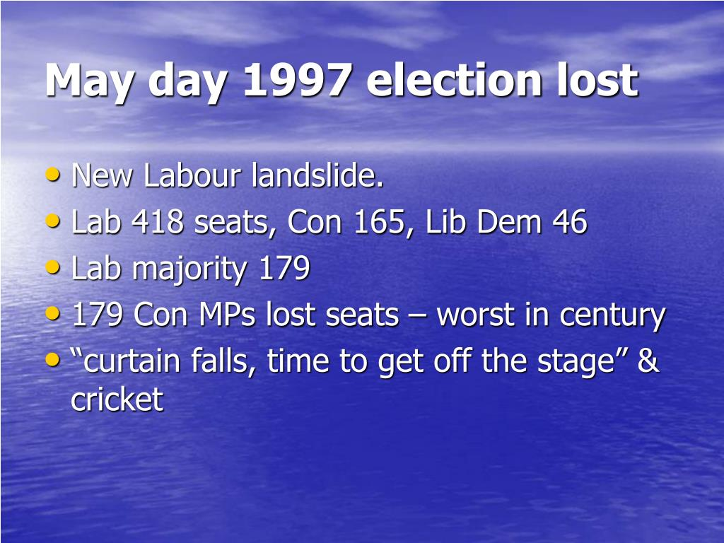 May day 1997 election lost