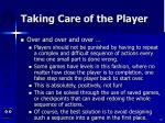 taking care of the player87