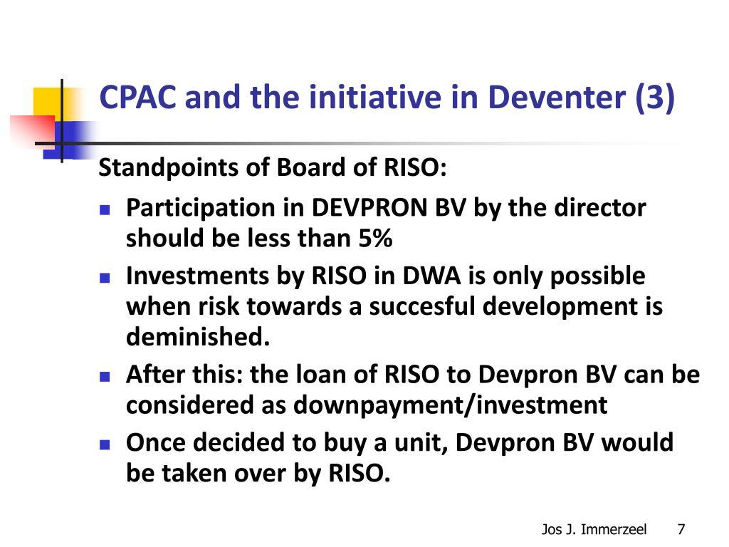 CPAC and the initiative in Deventer (3)