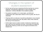 changes in the system of student assessment