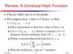 review a universal hash function