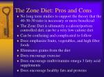 the zone diet pros and cons