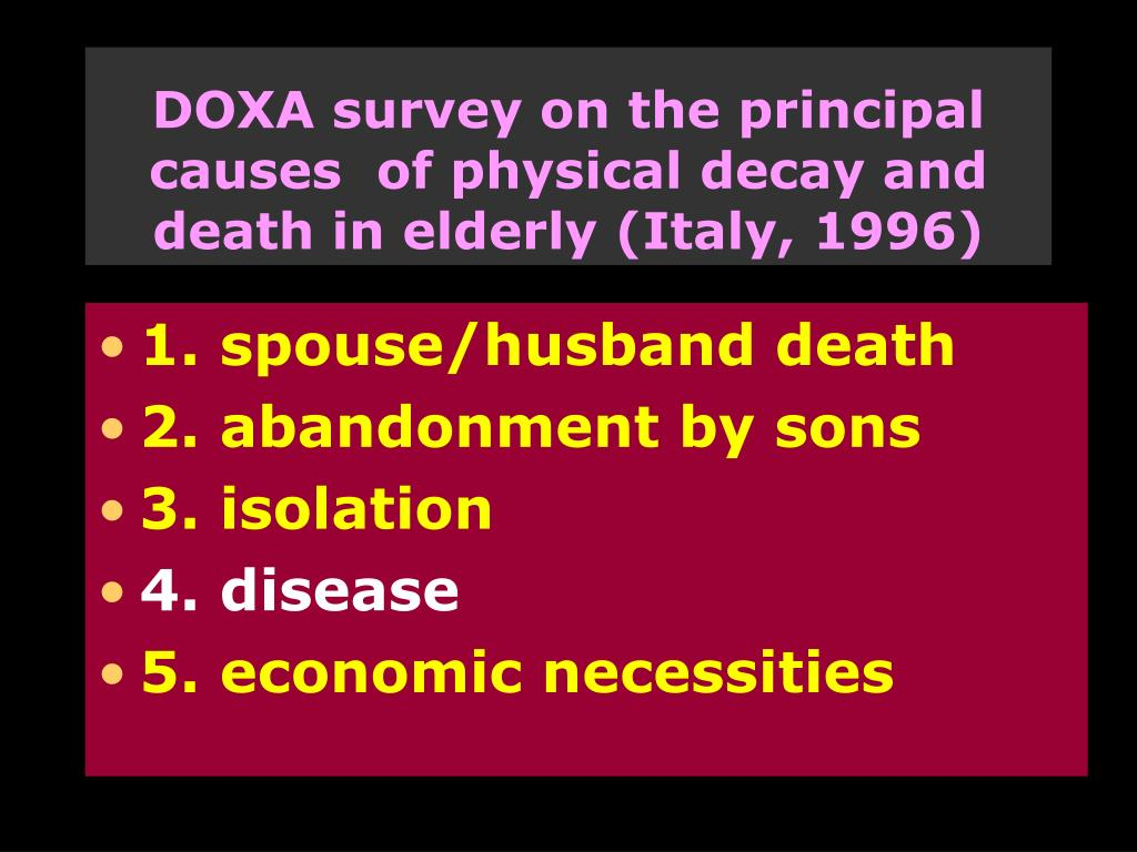 DOXA survey on the principal causes  of physical decay and death in elderly (Italy, 1996)
