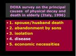 doxa survey on the principal causes of physical decay and death in elderly italy 1996