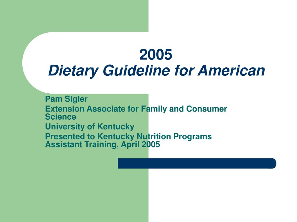 2005 dietary guideline for american l.