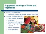 suggested servings of fruits and vegetables