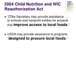 2004 child nutrition and wic reauthorization act