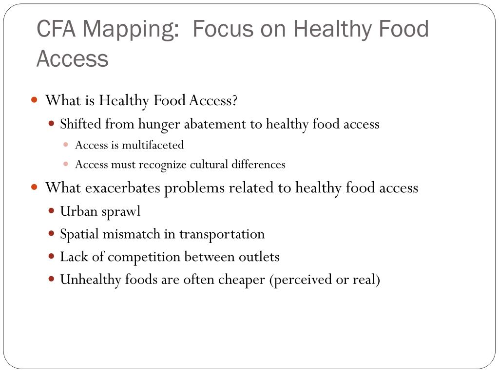 CFA Mapping:  Focus on Healthy Food Access
