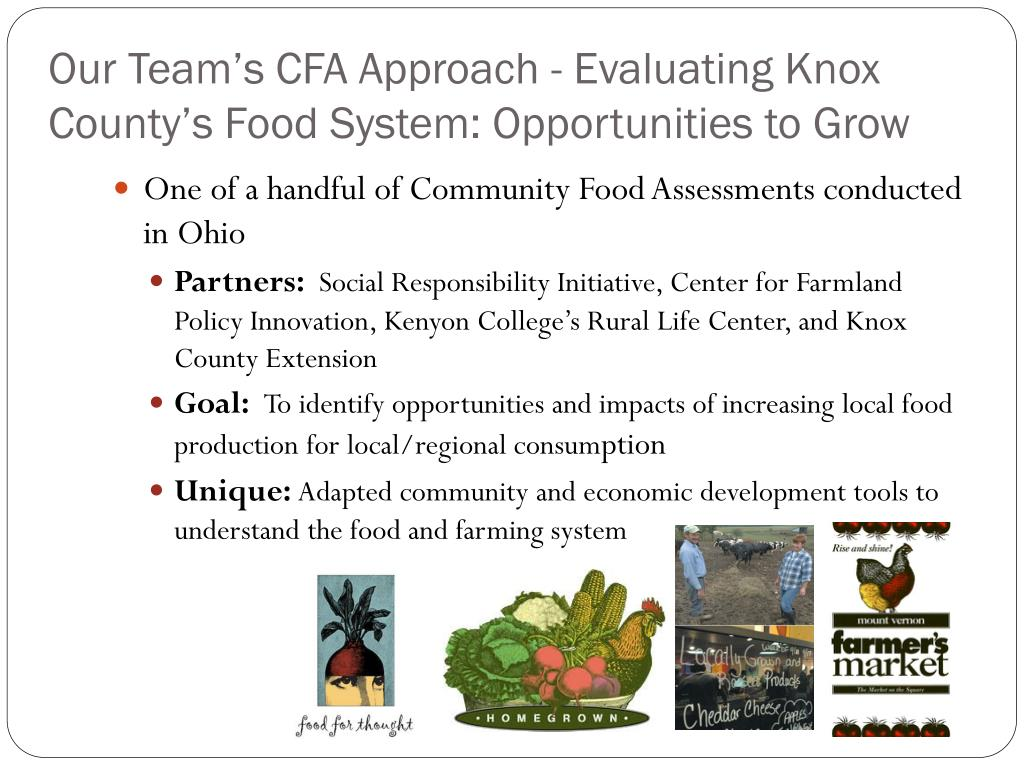 Our Team's CFA Approach - Evaluating Knox County's Food System: Opportunities to Grow