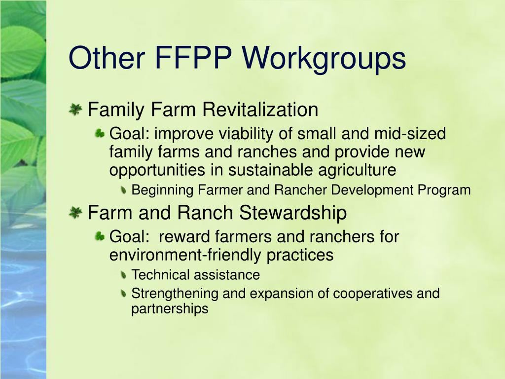 Other FFPP Workgroups
