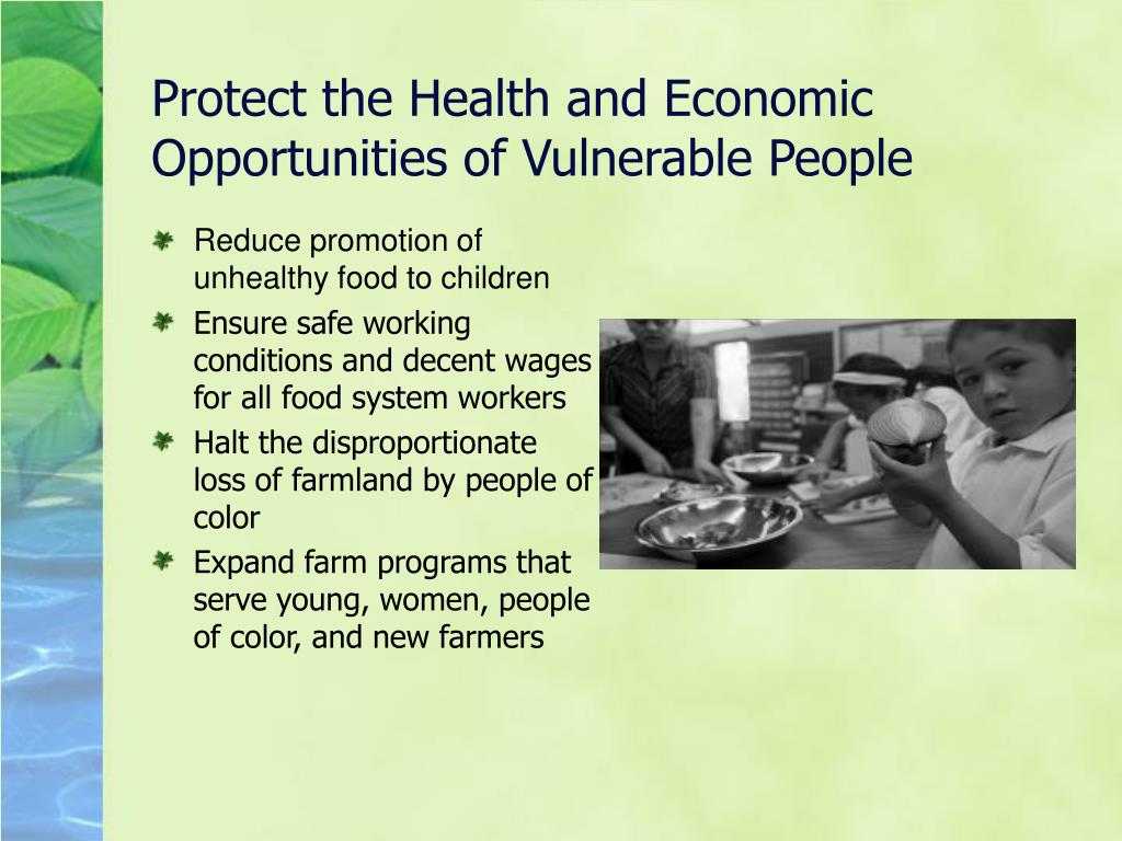 Protect the Health and Economic Opportunities of Vulnerable People