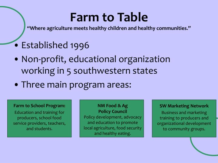 Farm to table where agriculture meets healthy children and healthy communities