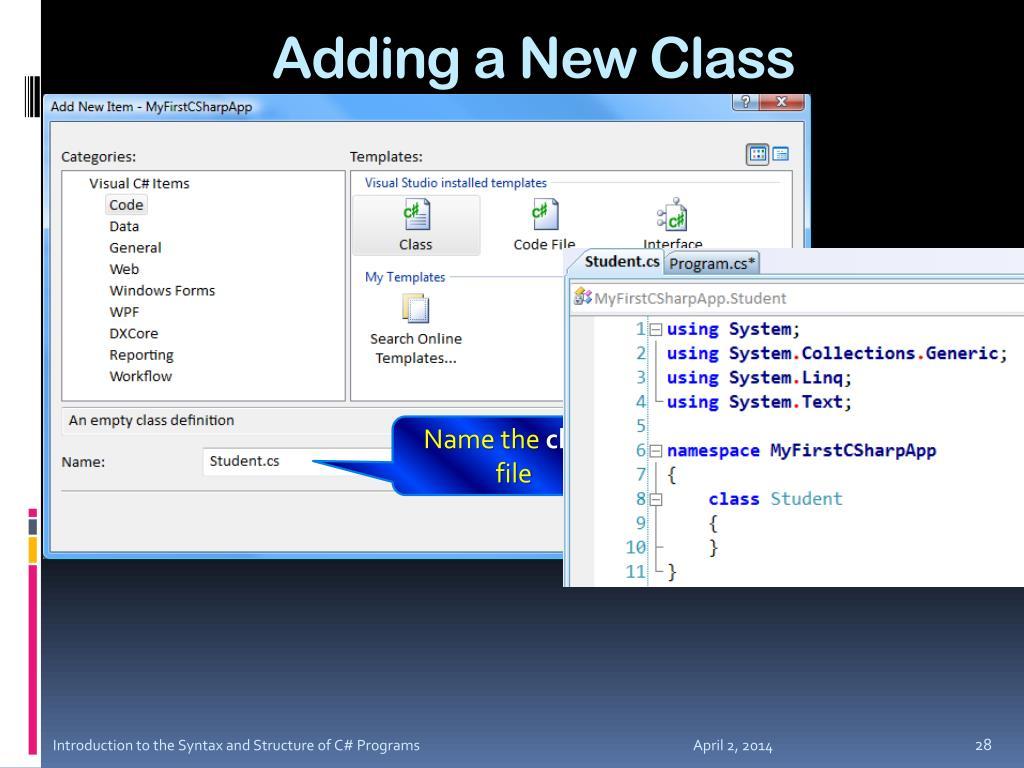 Adding a New Class