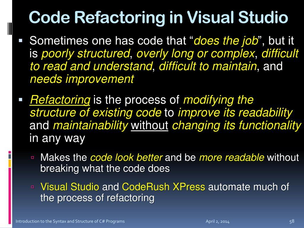 Code Refactoring in Visual Studio