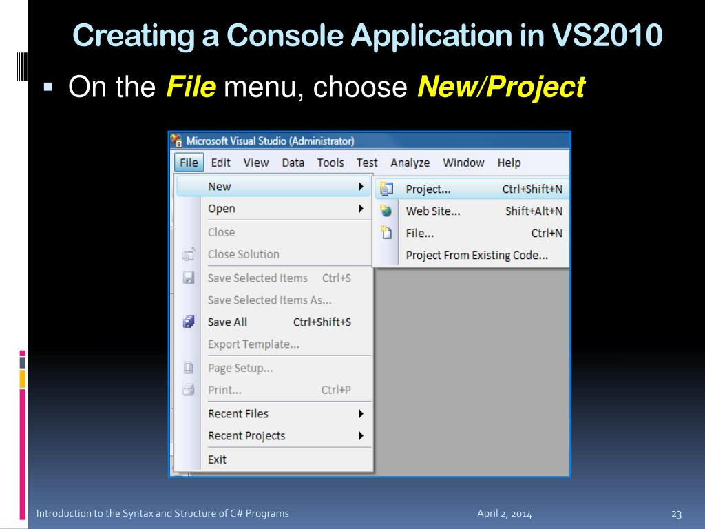 Creating a Console Application in VS2010