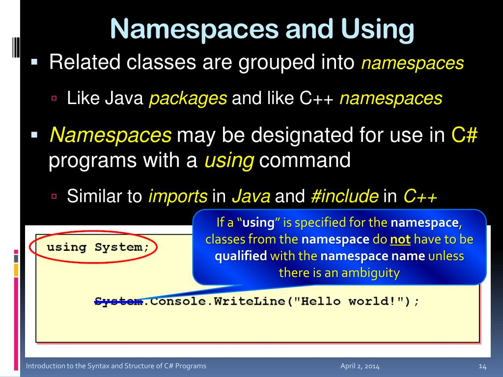 Namespaces and Using