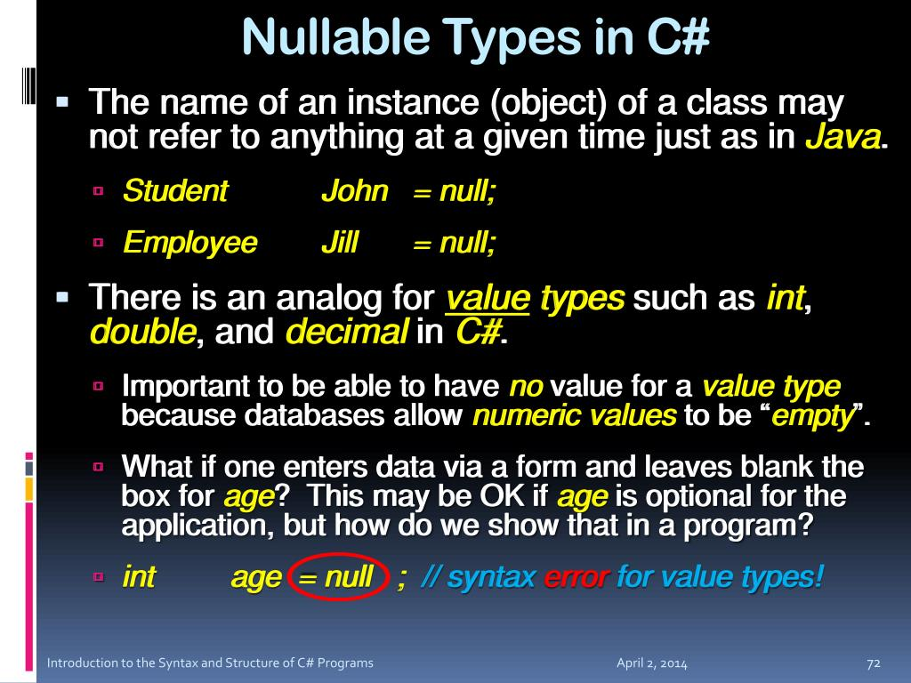 Nullable Types in C#