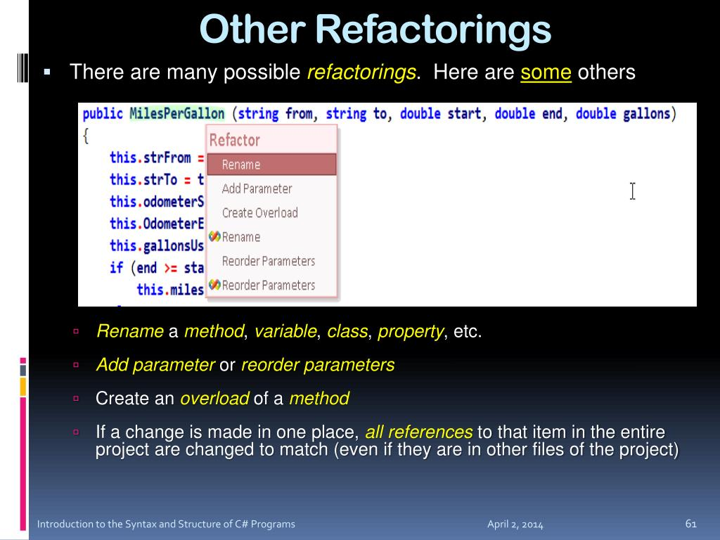 Other Refactorings