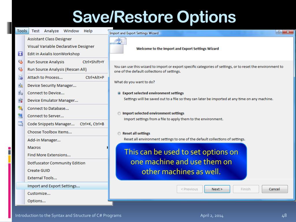 Save/Restore Options