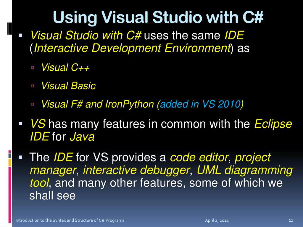 Using Visual Studio with C#