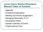 local intern mentor champion manual table of content38