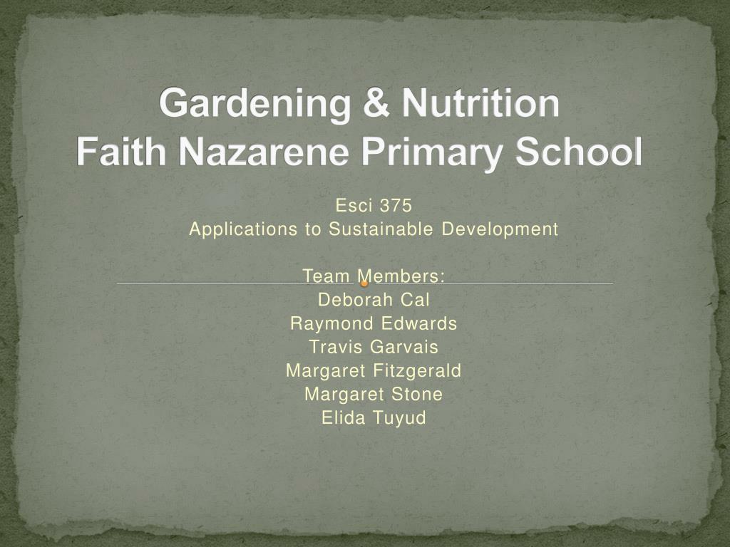 gardening nutrition faith nazarene primary school