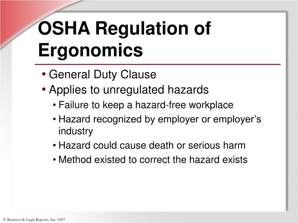 OSHA Regulation of Ergonomics