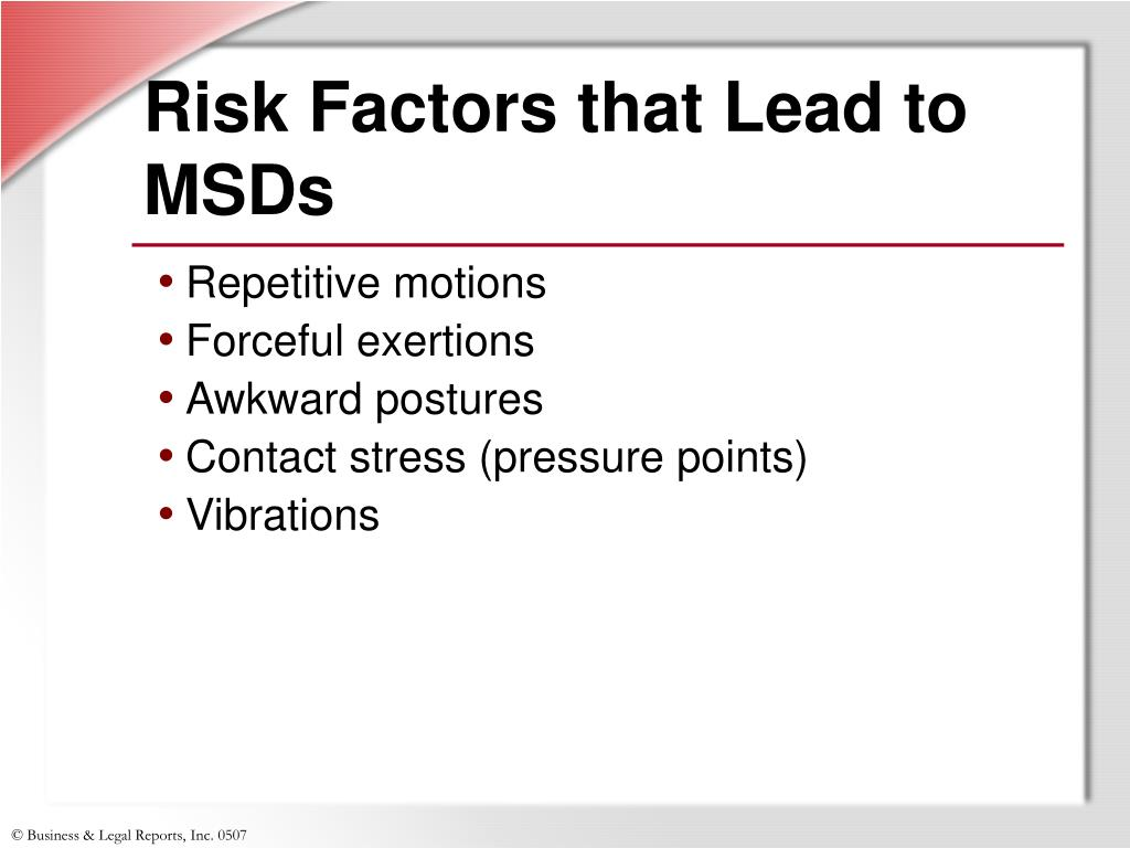 Risk Factors that Lead to MSDs