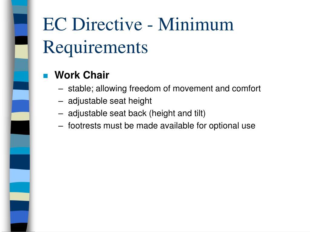 EC Directive - Minimum Requirements