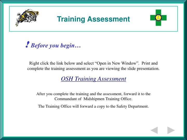 Training assessment