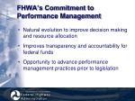 fhwa s commitment to performance management